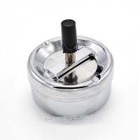 Крутящаяся самоочищающаяся пепельница, маленькая, серебро 6-1105