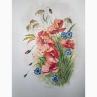 Акварель Полевые цветы. Маки