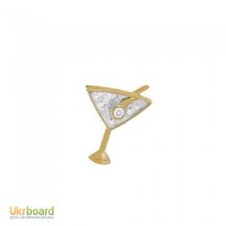 Золотой кулон бокал с бриллиантом 0,02 карат. Новый Натуральный бриллиант!