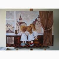Шикарная картина маслом на подарок Сказочное утро Картина в детскую