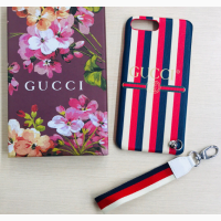 Чехол брендовый iPhone XS X 7/8+ 7/8 Gucci Logo Sylye Leather Blind for Love Gucci