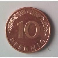 Монета.Страна Германия, 10 пфеннигов, 1989