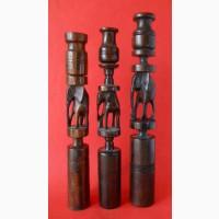 Винтажные деревянные подсвечники-статуэтки