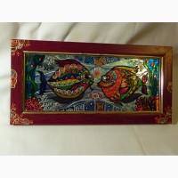 Витражная картина «Рыбы.Свидание»
