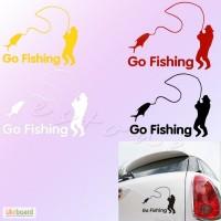 Наклейка на авто На рыбалку светоотражающая Тюнинг авто