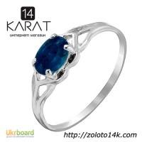 Золотое кольцо с натуральным сапфиром 0, 40 карат. Белое золото. НОВОЕ (Код: 15906)