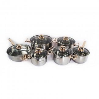 Набор кастрюль Supretto 12 предметов (золотой декор) - кастрюля для индукционной плиты