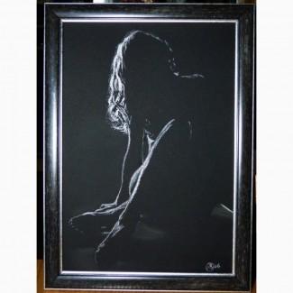 Картина автора «Взгляд»-белая пастель А4