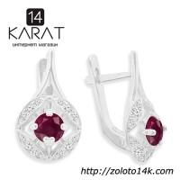 НОВЫЕ серебряные серьги с натуральными рубинами 1, 00 карат (Код: с1025)