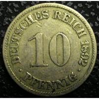 Германия 10 пфеннигов 1892 А год