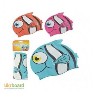 Шапочка для плавания в форме рыбки от 3х лет, голубые, оранжевые, малиновые