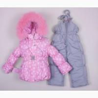 Зимний теплый комбинезон для девочки Розовая снежинка разные цвета