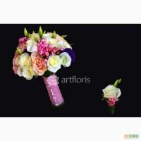 Букет невесты, бутоньерка, браслет из цветов, свадебная флористика