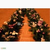 Новогоднее оформление хвойными гирляндами с декором премиум класса от ТМ Артфлорис.
