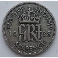 Великобритания 6 пенсов 1938 год, серебро