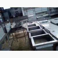 Мойка б/у, мойка новая из нержавеющей стали, столы производственные, стеллажи в наличии на