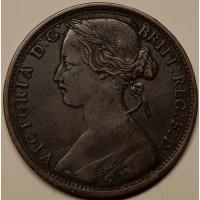 Англия 1 пенни 1862 год ОТЛИЧНАЯ