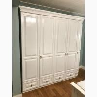 Белый 5ти дверный шкаф Омега с радиусной дверцей массив дерева
