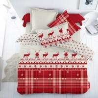 Новогоднее постельное белье Majoli Santa v2 Red 200×220