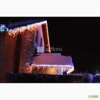 Украшение дома на новый год, иллюминация, оформление фасадов, елки, деревьев