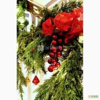 Новогодний декор камина, украшение лестницы, новогоднее оформление фасада