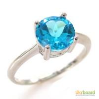 Серебряное кольцо с натуральным топазом 1,50 карат. НОВОЕ Родированное серебро!