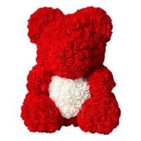 Мишки из роз в коробке, 40 см+сердечко в подарок
