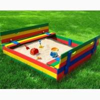 Детская деревянная песочница, 100*100 с крышкой цветная