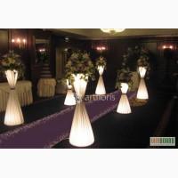 Цветочные стойки с подсветкой, композиции из искусств.цветов, арк