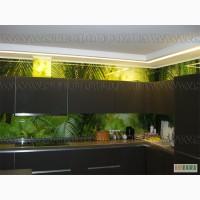 Стеклянный фартук на кухню, стеклянная рабочая стенка