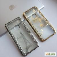 Чехол с цветным ободком и узором со стразами на iPhone 6/6S