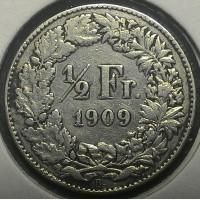 Швейцария 1/2 франка 1909 Не частый год!! серебро
