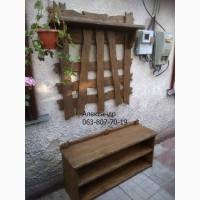 Прихожая деревянная под старину ( вешалка, полка для обуви )