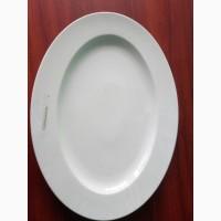 Блюдо овальное из белого фарфора к Новому году