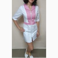 Женский халат Опера, белый с цветными вставками