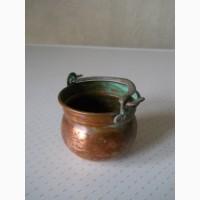 Винтажный декоративный старинный медный горшок