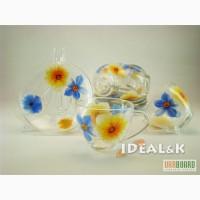 Посуда из стекла. Чашки, кружки, чайные сервизы, рюмки из стекла.