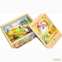 Любимые Сказки деревянные кубики 12шт. Развивающая игрушка из дерева