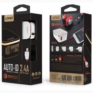 Зарядка LDNIO с функцией быстрой зарядки 2.4 ампера +кабель micro USB