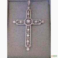 Крестик с белого золота