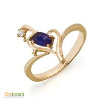 Золотое кольцо с сапфиром и бриллиантом 0,02 карат. НОВОЕ (Код: 16824)