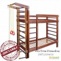 Кровать двухъярусная + спортивный уголок