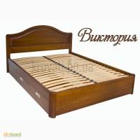 Деревянная двуспальная кровать с ящиками Вика