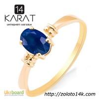 Золотое кольцо с натуральным сапфиром 0, 50 карат 16, 5 мм. Желтое золото. НОВОЕ Код:17727