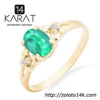 Золотое кольцо с изумрудом и бриллиантами 0, 03 карат 17 мм. Желтое золото. НОВОЕ