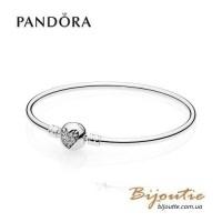 Pandora браслет жесткий сердце зимы 596404CZ