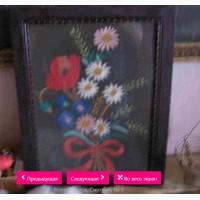 Картина Цветы с колосками (ручная вышивка). 1963-й год