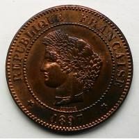 Франция 5 сантим 1897 год ОТЛИЧНАЯ
