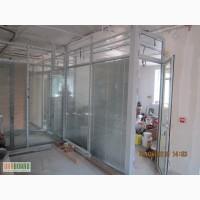 Перегородки офісні, цільносклянні з алюмінію і металопластика