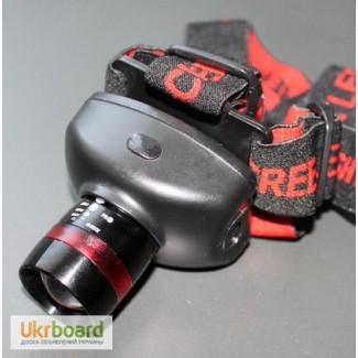 Налобный светодиодный фонарик CREE 200 лм с регулируемым фокусом, 3 режима работы